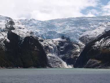 Frozen waterfall in the Beagle Channel
