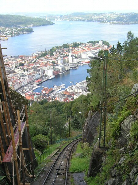 Bergen from the top of the funicular railway