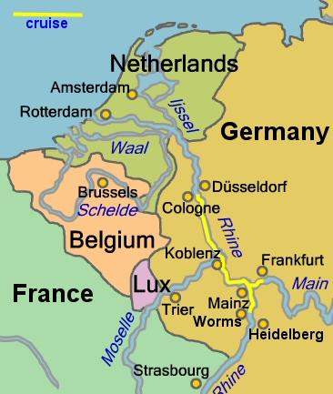 Rhine Cruise - Rhine valley germany map